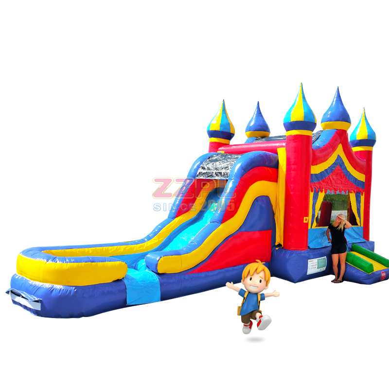 5-in-1 Castle Inflatable Combo Wet/Dry with Water Slide,Splash Pool and Basketball Hoop #