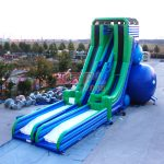 117'x46'x51′ Commercial Inflatable Free Fall 2 Lane Sky Water Slide #PLS-060 35.6x14x15.5m